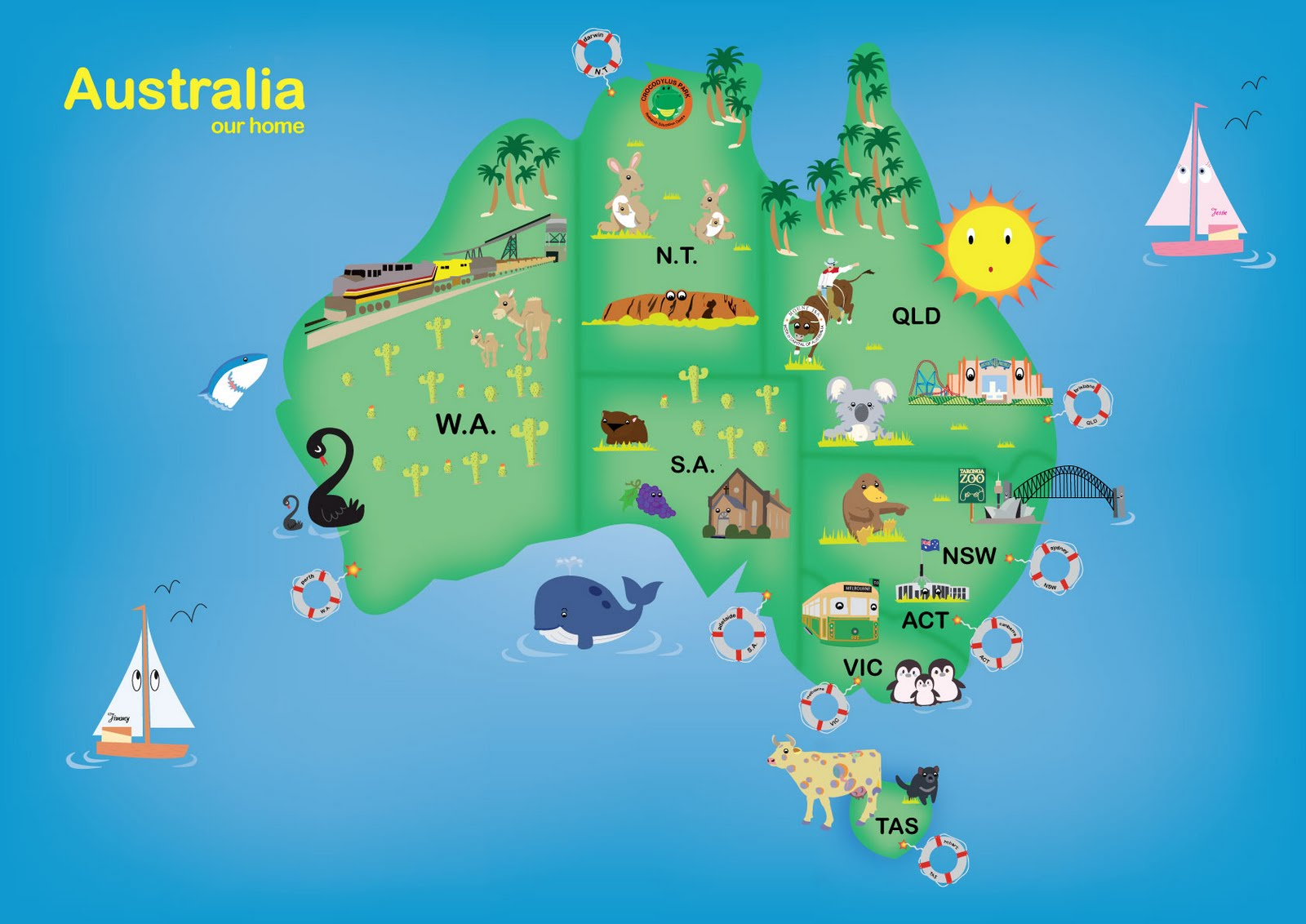 kids aussie map