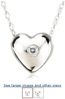 Holiday Gifts: 14k White Gold Diamond Heart Pendant (.01 cttw, J Color, I2 Clarity), 18