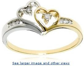  14k Two-Tone Diamond Heart Ring (1/10 cttw, H-I Color, I2 Clarity) :  woman ring diamond design