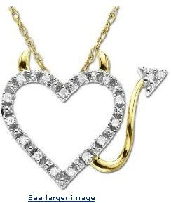 14k Gold Heart Devil Diamond Pendant (.04 ct) :  woman design designer jewelry