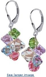 Multicolor Cluster Swarovski Crystal Genuine Sparkling .925 Sterling Silver Leverback Dangle Earrings :  woman designer jewelry gifts