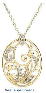 18k Yellow Gold Overlay Sterling Silver Diamond Accent Pendant, 18