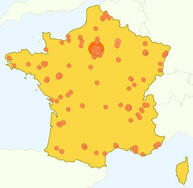 Carte des lieux de connexion des visiteurs français du blog du 22 avril au 22 mai 2008