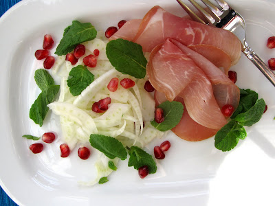 fennel prosciutto salad with pomegranate mint serves 4 2 fennel