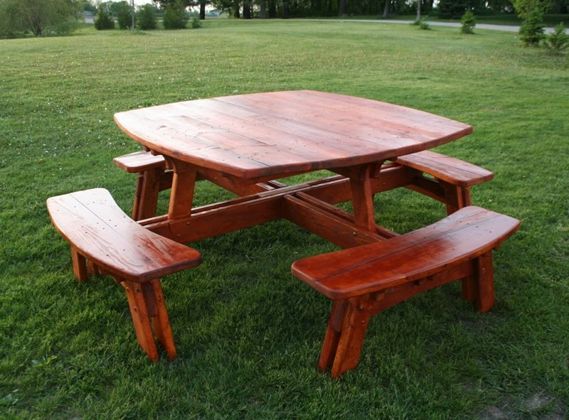 Twist of Nature Log Furniture - Red Pine Picnic Table  Benches