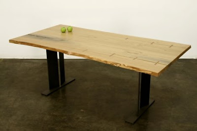 Desk made from old wood floors
