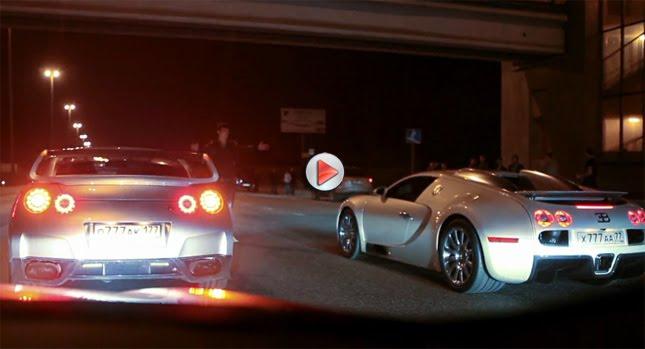 Bugatti Veyron GT R Nissan 0  730HP Nissan GT Rs are no Match for Bugatti Veyron 16.4 Photos Videos