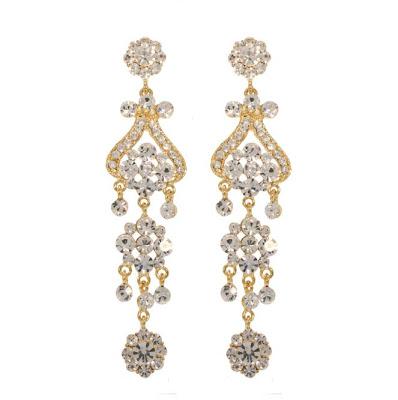 Lovely Bridal White Stone Gold Earring Latest Model