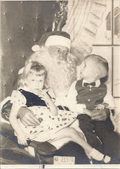 First visit with Santa Claus, Johnny and Millie Evans