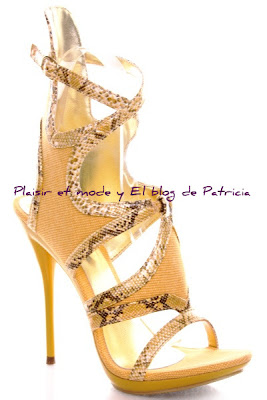 Yellow Snake Skin Strappy Gladiator Heels