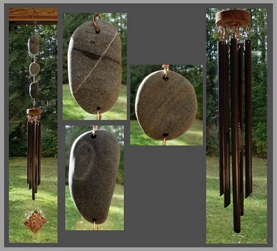 wind chime, windchime, beach stone, copper, handcrafted