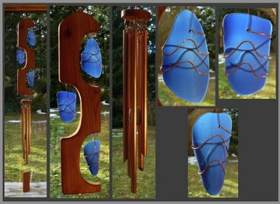 wind chime, sculpted cedar with cobalt blue beach style glass, copper chimes