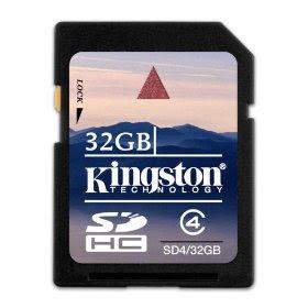 Kingston 32 GB SDHC Class 4 Flash Memory Card SD4/32GB