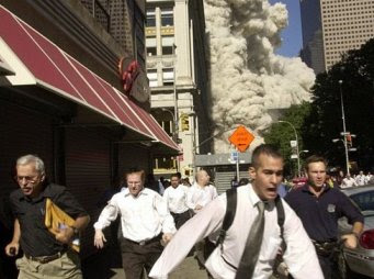 People running from the collapse of World Trade Center
