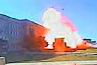 An image of the Pentagon attack captured by a surveillance camera