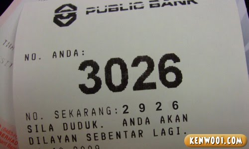 bank queue ticket