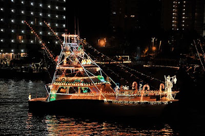 Boat Decorated for Holiday Parade on the intracoastal waterway, Pompano Beach Florida
