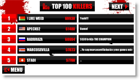 Dawn Of The Fly 2 Top 100 Killers Board