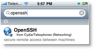 OpenSSH Cydia iPhone