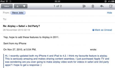 Steve Jobs Replys Email About AirPlay Video Streaming