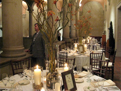 Centerpieces were tall vases