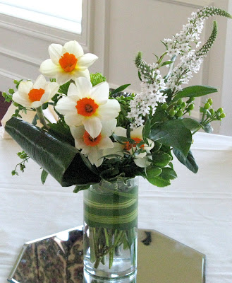 Centerpieces were an eclectic assortment of glass vases filled with simple