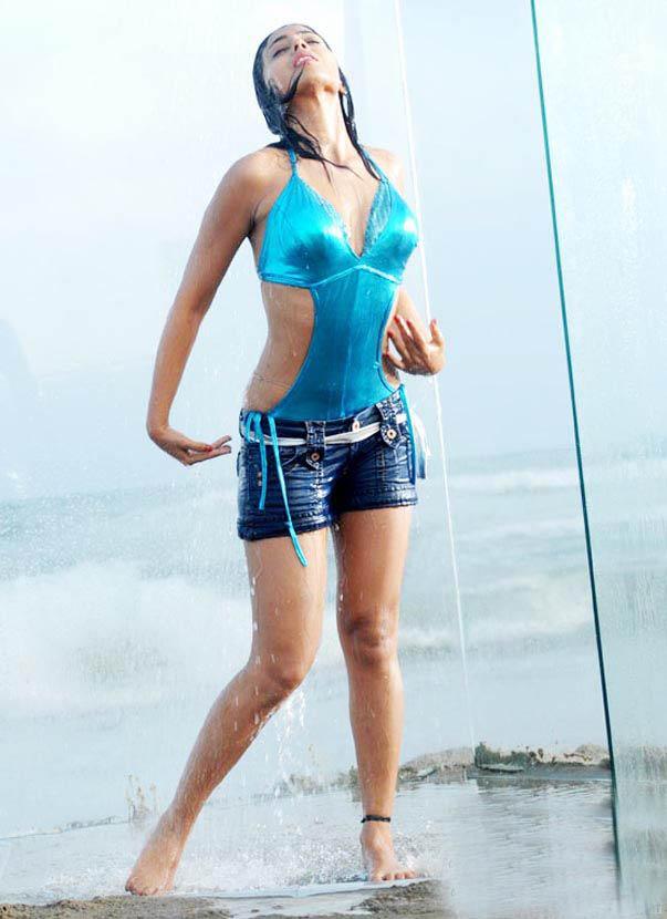 Shriya Saran in blue swimsuit Bikini