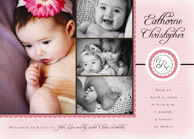 pink monogram photo birth announcement