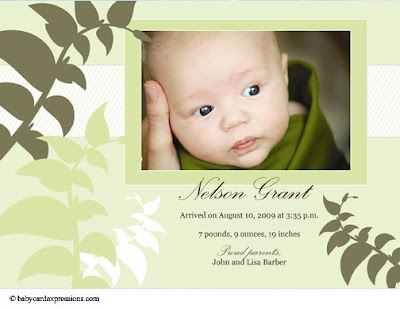 Nature and Leaves Photo Baby Birth Announcement