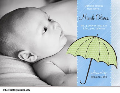 Umbrella Photo Baby Announcement, Parasol Photo Birth Announcement
