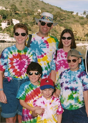 family wearing same material clothes