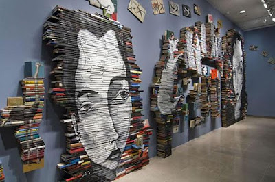 Stacked Book Portraits by Mike Stilkey