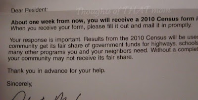 Useless Census Letter Waste of Tax Payer Money Thoughts of THAT Mom