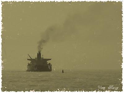 пароход, море, старинная фотография, Retro