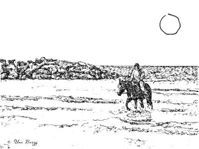 девочка, море, лошадь