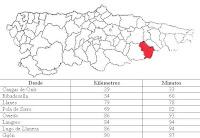 Ponga, mapa de situación y distancias