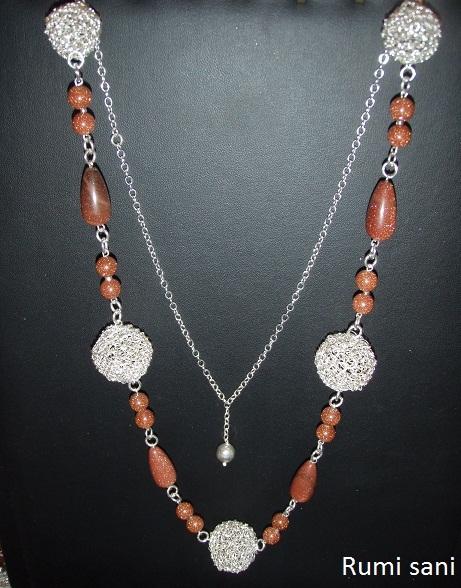 Colgantes y Collares tejidos al crochet con Hilo de Plata 1.000. Accesorios en Plata 9.50. Piedras semipreciosas , Cristales y Muranos.