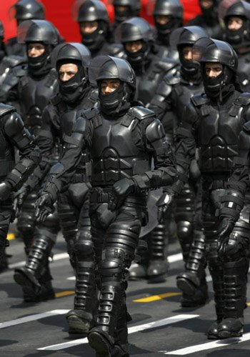 Police in Peru Parade in new Uniforms