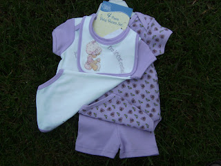 NWT Lilac Purple 4 Piece Baby Girl Basics Set 3 Months with Bib & Shorts