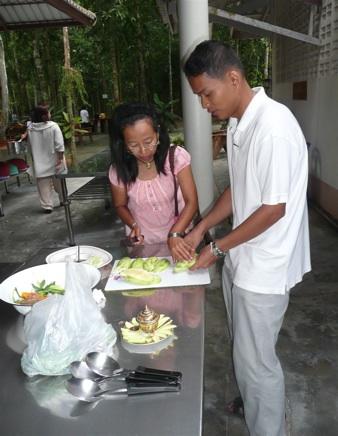 Lays preparing food
