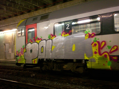 Unfinish train graffiti