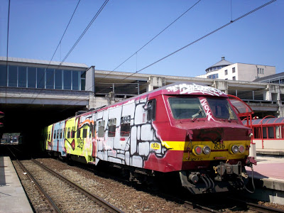Wholetrain graffiti painting in Belgium
