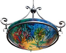 Reverse Painted Glass Chandelier Lamps