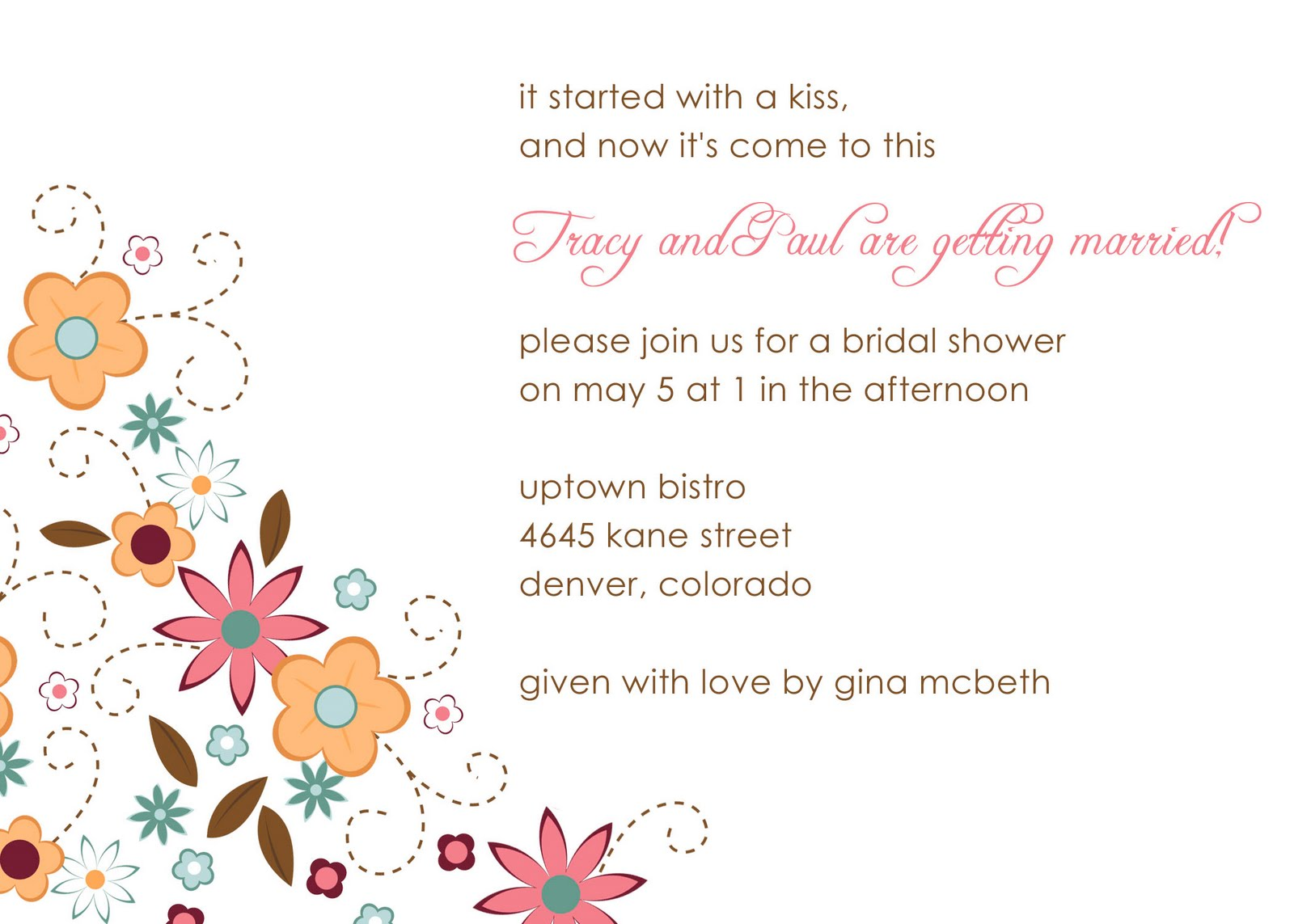 Flower Power Bridal Shower Invitation