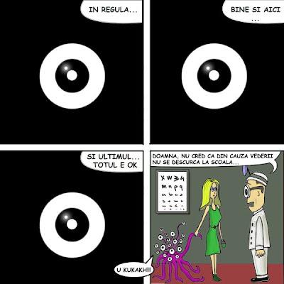 comic banda desenata O fata merge la oftalmolog cu monstruletul ei extraterestu pentru un control la ochi nedumerita ca monstrul nu se descurca la scoala