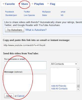 cara berbagi video Youtube melalui email