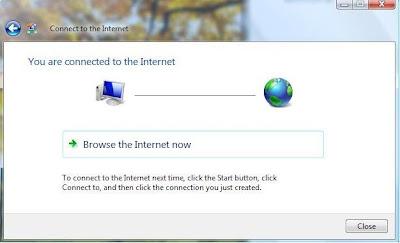berhasil set up koneksi internet dengan dial up