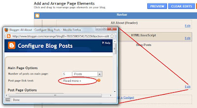 Cara merubah tulisan Read More di Blogspot