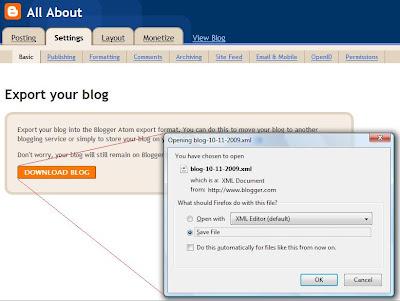 cara membuat backup blog anda