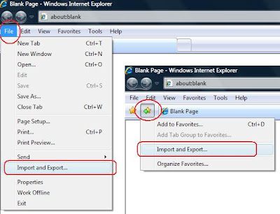 cara impor dan ekspor Favorites di Internet Explorer
